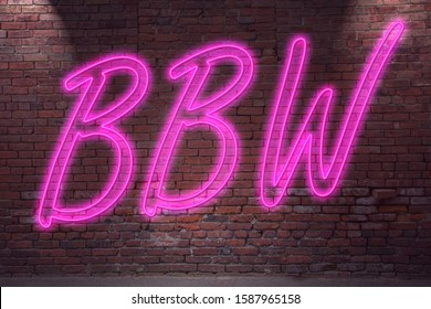 Neon BBW (Big Beautiful Woman) drawing lettering on Brick Wall at night
