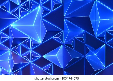 Neon blue abstract traingle and pyramid background pattern