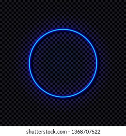 Neon Blue Circle, Glowing Frame, Shine Effect Isolated on Dark Transparent Background.