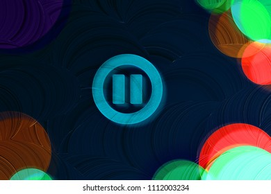 Neon Blue Pause Contour Icon on the Black Painted Background. 3D Illustration of Blue Audio, Button, Control, Media, Pause Icon Set on the Dark Black Background.