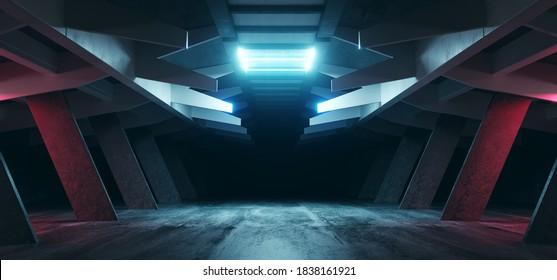 Neon Blue Purple Red Alien Spaceship Sci Fi Concrete Rough Cement Garage Tunnel Corridor Warehouse Showroom Underground Futuristic Modern Background 3D Rendering  Illustration