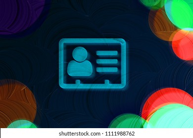 Neon Blue Vcard Icon on the Black Painted Background. 3D Illustration of Blue v Card, v Card, Vcard, Vcard File, Vcard File Icon Set on the Dark Black Background.