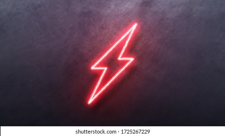 Neon bolt lighting neon sign with power effect animation seamless. Looped. Night bright neon sign, red color billboard, light banner. on texture wall