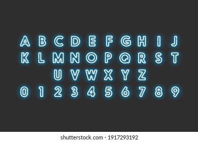 Neon capital letters and numbers, blue glow font, 3d rendering. Luminous xenon uppercase fount with numeric. Led diod character symbols set for backlight sign template.