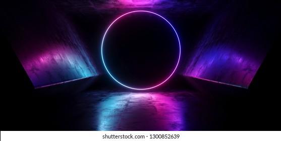 Neon Circle Laser Glowing Cyber Sci Fi Futuristic Modern Retro Hi Tech Dance Club Purple Pink Blue Lights In Dark Grunge Reflective Concrete Tunnel Corridor Hall Room 3D Rendering Illustration