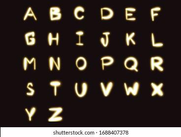 Neon city color font. English alphabet