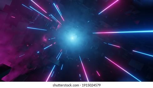 Neon City mit Light Tech Digital Effekt. Hell rosa und blaue Neon Objektive erstrahlen, unangenehme Umgebung. 3D-Darstellung