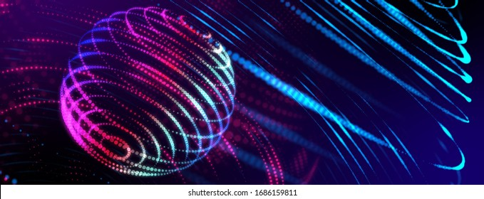 Neon color orbit globe in space. Smart digital world 3D online wireless network connection futuristic technology abstract background web banner