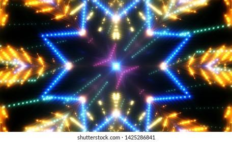 Neon colored lights background. Illustration digital. Beautiful kaleidoscope.