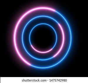 Neon colorful swirling rounds. Abstract creative HUD with neon, glowing light.