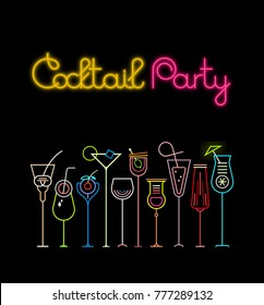 Neon colors on a black background Cocktail Party poster template design. Ten various cocktail glasses and Cocktail Party text with glow effect.