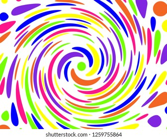 Neon coloured abstract polka dot concentric swirl in neon pink, purple, green, blue, orange and yellow. Groovy, psychedelic background.
