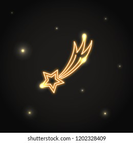 Neon comet icon in thin line style. Shooting star electric light symbol in dark sky. Meteorite sign on black background.