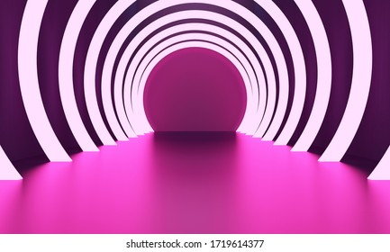 Neon corridor of round arches. Minimalist backdrop design for product promotion. 3d rendering