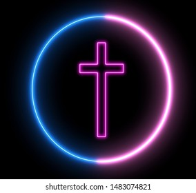Neon crucfix, religion concept. Inside swirling round, sign of Christianity.