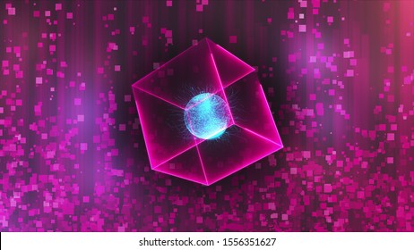 Neon cube with data center in zero gravity on an glare abstract background, computer generated 3d rendering