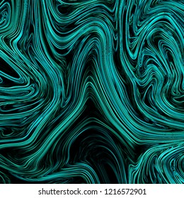 Neon cyan abstract background with liquify flow