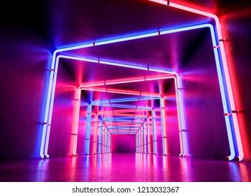 Neon cyberpunk background concept. 3d rendering.