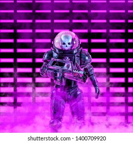 The neon dark trooper / 3D illustration of science fiction scene with evil skull faced astronaut space soldier holding laser rifle in front of glowing neon lights