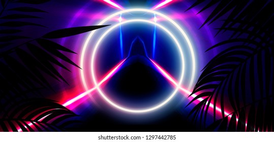 Neon, empty stage, wall, background with bright lighting, night city, night view. Tropical leaves. 3D illustration