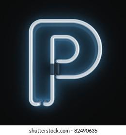 neon font letter p
