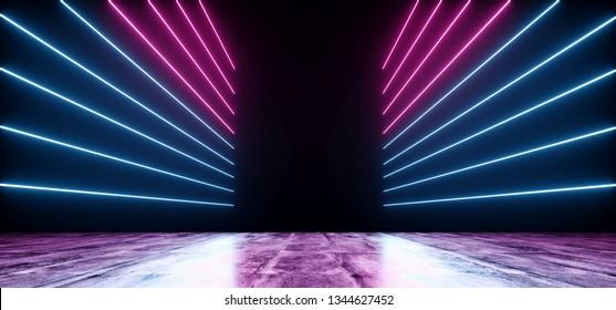 Neon Futuristic Background Cyber Retro Purple Pink Blue Ultraviolet Vibrant Glowing Horizontal Lines Shaped Fluorescent Luminous Elegant Alien Dance Stage Gallery Lights 3D Rendering Illustration
