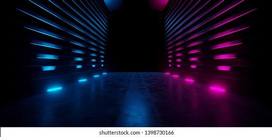 Neon Futuristic Dark Retro Sci Fi Triangle Alien Spaceship Purple Blue Empty Glowing Vibrant Laser Showcase Stage Corridor Hallway Entrance Huge Concrete Grunge Reflective 3D Rendering Illustration