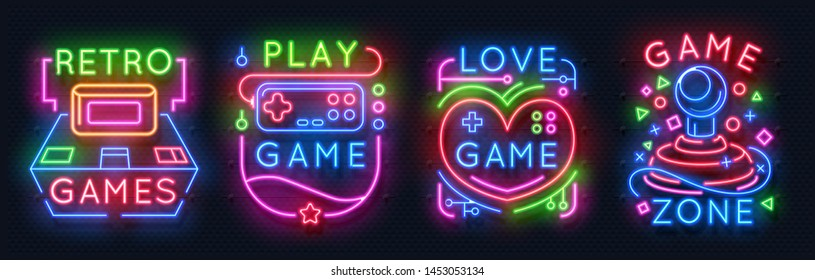 Neon game signs. Retro video games zone, player room glowing emblems, night light labels.  glowing neon gamer icons