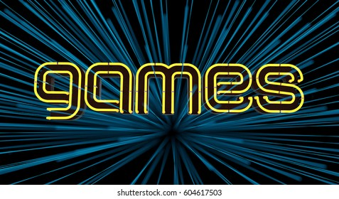 Neon Games Sign on Dark Background. 3D illustration