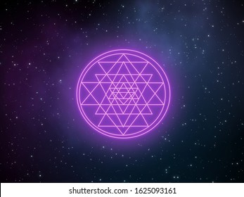 Neon glow Sri Yantra, sacred geometry symbol, on galaxy design background with beautiful stars field and gas clouds.