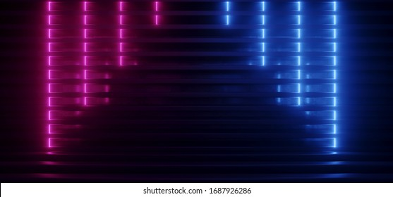 Neon Glowing Background Purple Blue Laser Striped Metal Reflective Structure Podium Stage Warehouse Room Hall Garage Dark Night Empty Shape 3D Rendering  Illustration