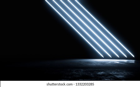 Neon Glowing Blue Lights Futuristic Background. Vibrant Colors shining Line In Empty Dark Room With Concrete Floor and Reflections. Abstract Future Sci Fi Concept. 3D Rendering Illustration