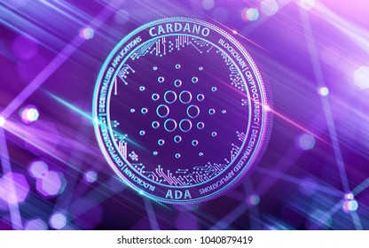 Neon glowing Cardano (ADA) in Ultra Violet colors with cryptocurrency blockchain nodes in blurry background. 3D rendering