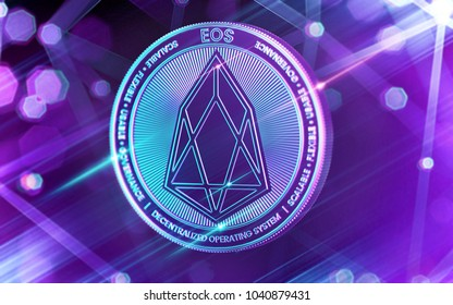 Neon glowing EOS coin in Ultra Violet colors with cryptocurrency blockchain nodes in blurry background. 3D rendering
