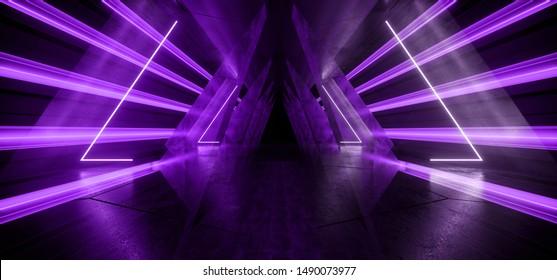 Neon Glowing Futuristic Sci Fi Dark Lights Purple Violet Futuristic Triangle Columns Concrete Grunge Empty Spaceship Tunnel Room Virtual Cyber Laser Beam 3D Rendering Illustration