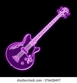 neon glowing guitar icon isolated on black background