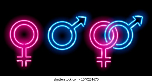 Neon glowing icons of venus and mars isolated on black background. Male and female sex symbols. Design elements. Illustration.