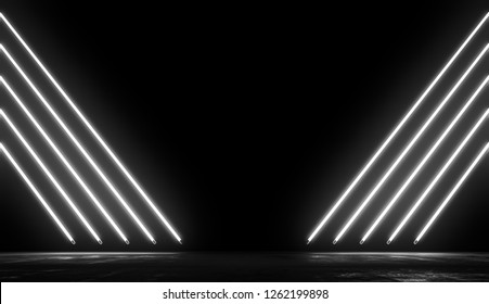Neon Glowing Lights Futuristic Background. White colors Line In Empty Dark Room With Concrete Floor and Reflections.Future Sci Fi Concept. 3D Rendering Illustration