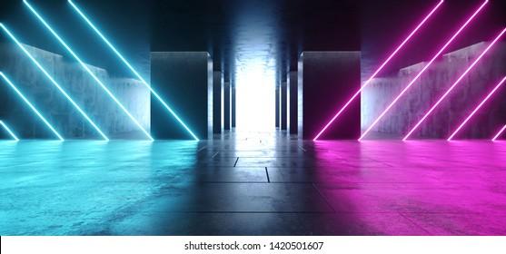 Neon Glowing Line Shaped Lasers Purple Blue Modern Futuristic Sci Fi Concrete Grunge Reflective Tiled Floor Columns Hallway Garage Underground White Glow Asphalt Room Gallery Elegant 3D Rendering
