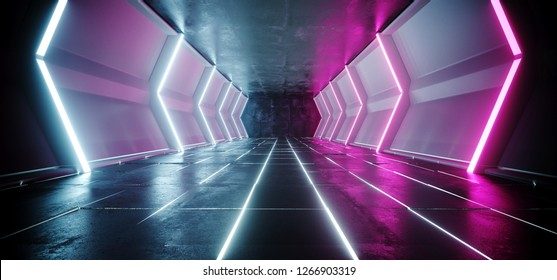 Neon Glowing Lines Sci Fi Futuristic Dark Alien Ship Space Tunnel Corridor With Concrete White Glowing Floor Empty Space For Text Technology Modern Background 3D Rendering Illustration