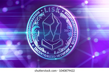 Neon glowing Lisk (LSK) coin in Ultra Violet colors with cryptocurrency blockchain nodes in blurry background. 3D rendering