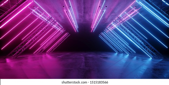 Neon Glowing Purple Blue Vibrant Sci Fi Futuristic Stage Podium Construction Metal Triangle Concrete Grunge Reflective Dark Night Virtual Show Background Laser Tunnel Corridor 3D Rendering