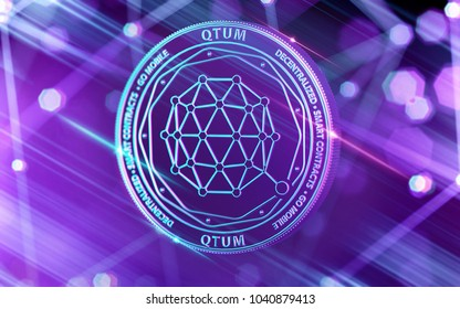 Neon glowing QTUM coin in Ultra Violet colors with cryptocurrency blockchain nodes in blurry background. 3D rendering