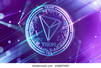 Neon glowing TRON (TRX) coin in Ultra Violet colors with cryptocurrency blockchain nodes in blurry background. 3D rendering