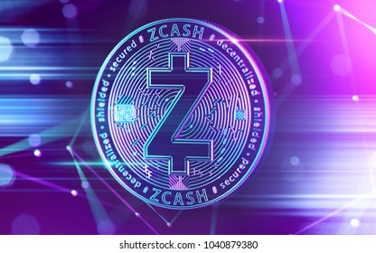 Neon glowing Zcash (ZEC) coin in Ultra Violet colors with cryptocurrency blockchain nodes in blurry background. 3D rendering