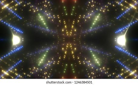 Neon gold lights background. Illustration digital.