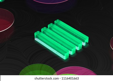 Neon Green Align Text to Justify Glass Icon on the Black Background. 3D Illustration of Green Align, Alignment, Center, Hamburger, Justify, Menu, Text Icon Set on the Dark Black Background.