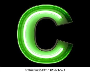 Neon green light alphabet character C font. Neon tube letters glow effect on black background. 3d rendering