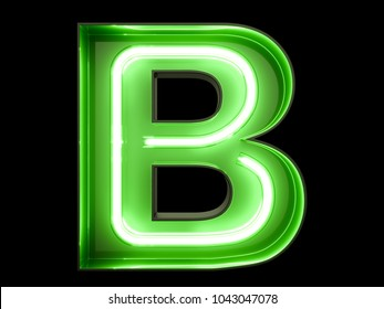 Neon green light alphabet character B font. Neon tube letters glow effect on black background. 3d rendering