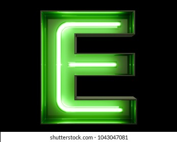 Neon green light alphabet character E font. Neon tube letters glow effect on black background. 3d rendering